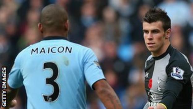 Maicon (left) and Gareth Bale (right)