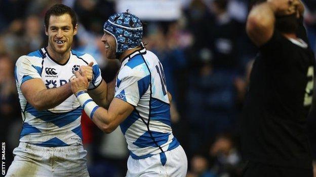 Tim Visser celebrates his try for Scotland