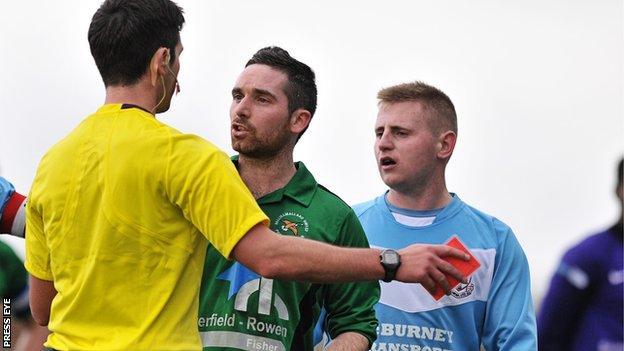 Ballinamallard's Jason McCartney was sent-off at Ballymena
