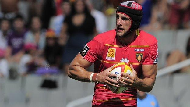 Luke Charteris in action for Perpignan against Toulouse