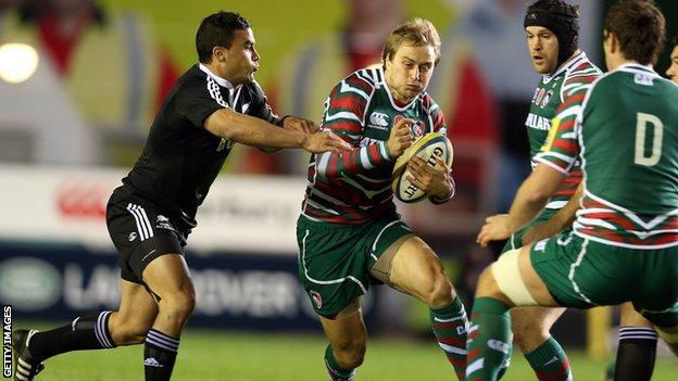 Mathew Tait in action for Leicester against New Zealand Maori
