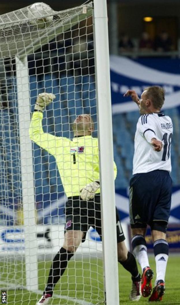 Rhodes heads in the opening goal despite goalkeeper Jonathan Joubert's attentions