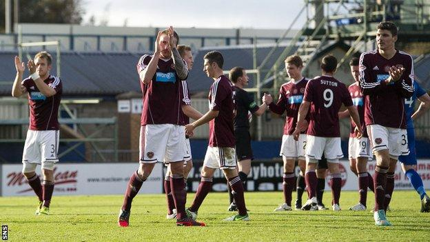 Hearts players applaud their fans after Saturday's draw in Inverness