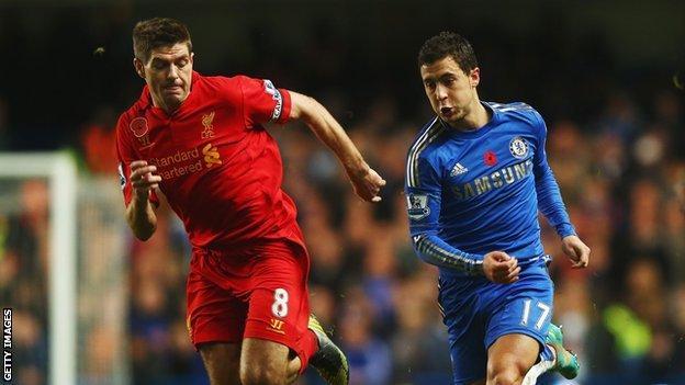 Liverpool's Steven Gerrard and Chelsea's Eden Hazard