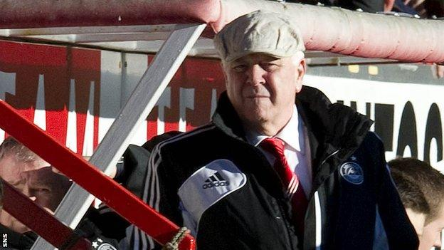 Craig Brown in the dug-out v Celtic