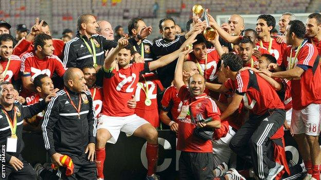 Al Ahly celebrate their record seventh African Champions League victory
