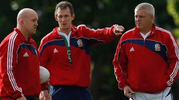 Shaun Edwards, Robert Howley and Warren Gatland help coach the 2009 Lions in South Africa