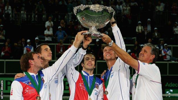 Czech Republic celebrate winning the Davis Cup