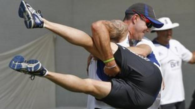 Kevin Pietersen gets to grips with England physio Mark Saxby