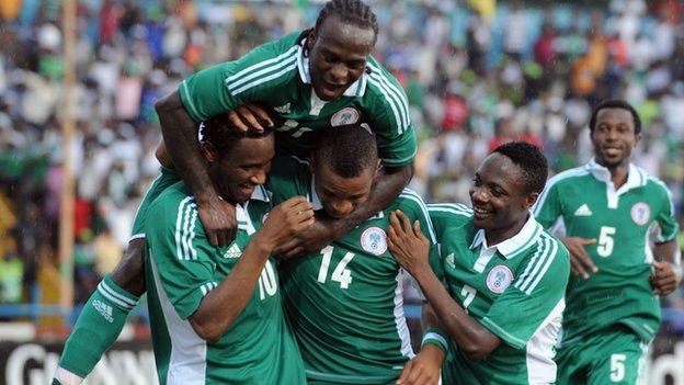 The Nigerian team in celebratory mood