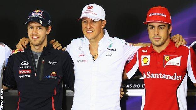 Sebastian Vettel, Michael Schumacher and Fernando Alonso