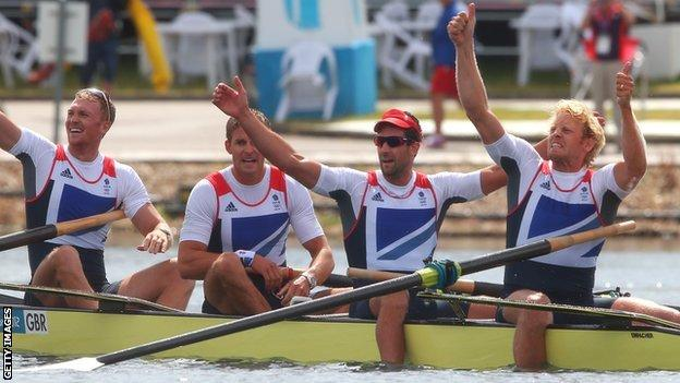 Tom James (second from right) with GB coxless four team-mates Alex Gregory, Pete Reed and Andrew Triggs Hodge
