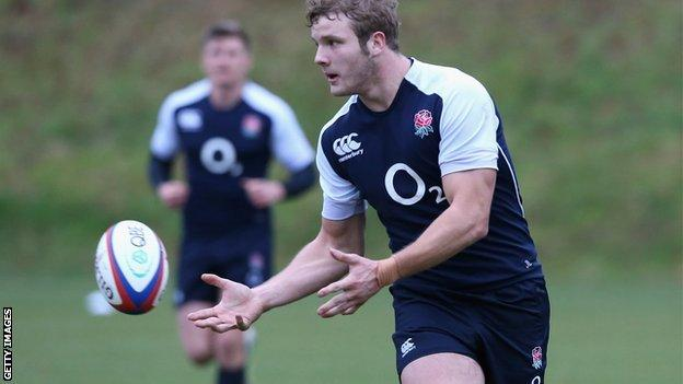Joe Launchbury at an England training session in Surrey