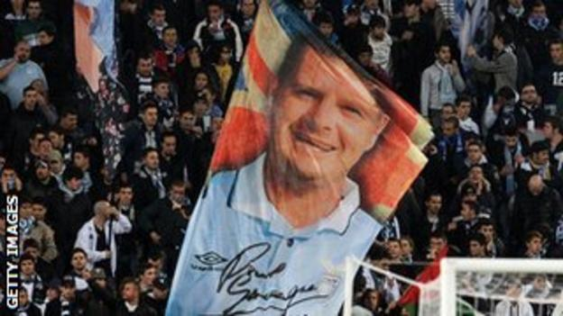 Lazio supporters display a banner featuring Gascoigne