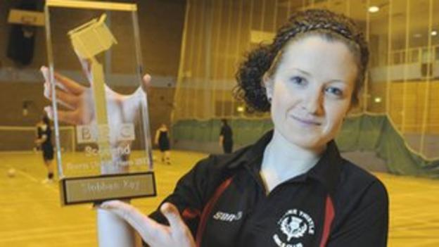 Siobhan Kay poses with the BBC Sport Unsung Hero Award for Scotland 2012