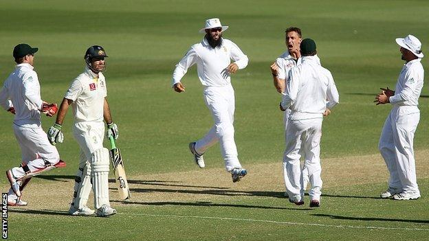 Australia's Ricky Ponting is dismissed by South Africa
