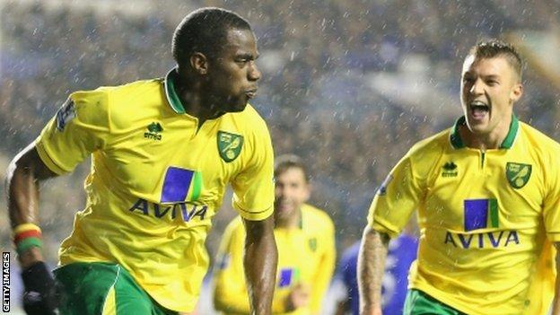 Sebastien Bassong celebrates his last-gasp equaliser for Norwich