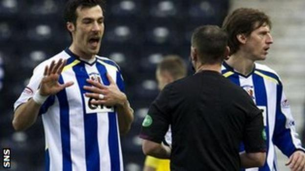 Kilmarnock defender Manuel Pascali is sent off by Stevie O'Reilly