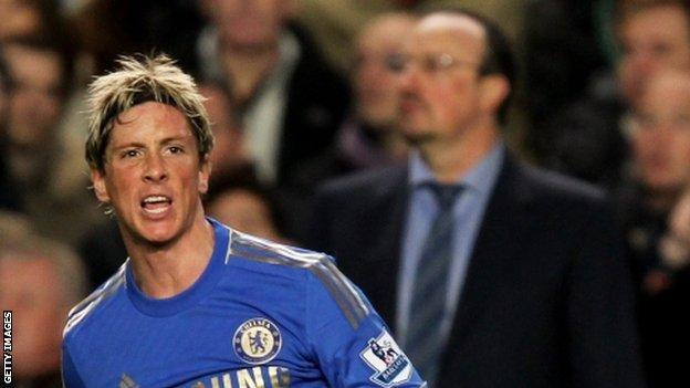 Chelsea striker Fernando Torres and new Blues manager Rafael Benitez