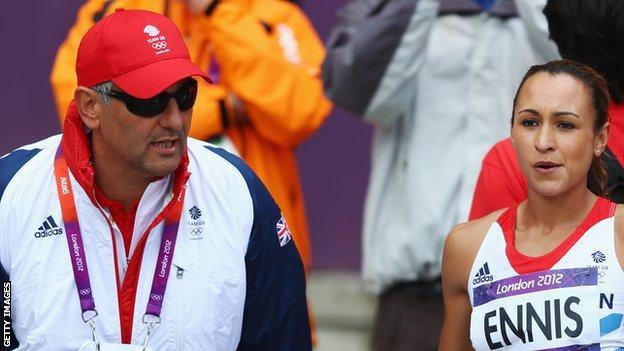 Jessica Ennis with coach Toni Minichiello