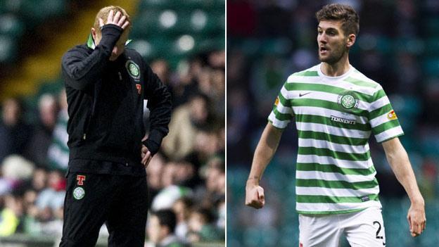Celtic manager Neil Lennon and defender Charlie Mulgrew