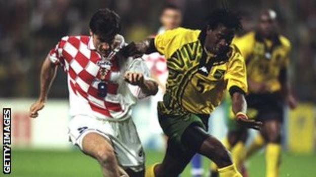 Jamaica's Ian Goodison tackles Davor Suker of Croatia during the 1998 World Cup