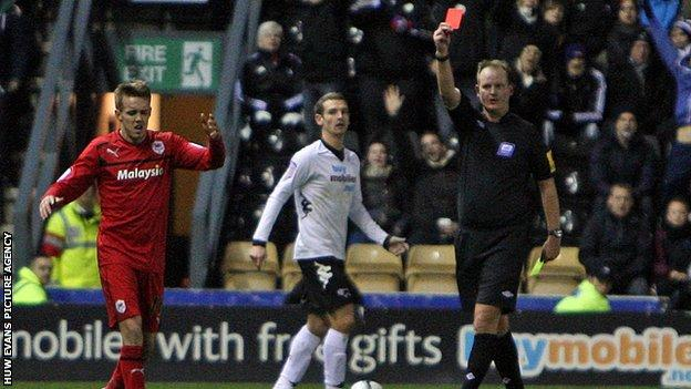 Cardiff's Craig Noone is sent off