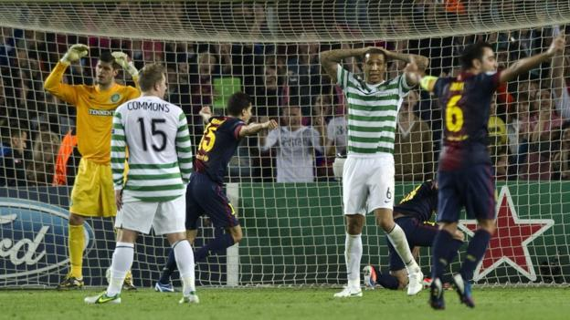 Dismay from the Celtic players as Barcelona's Jordi Alba scores late in the game