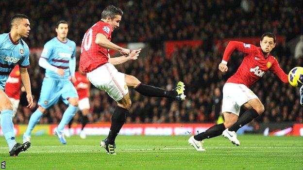 Robin van Persie scores for Manchester United against West Ham