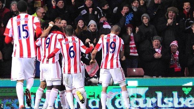 Stoke celebrate their winner