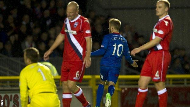 Tokely shows his disappointment as Andrew Shinnie scored for Caley Thistle