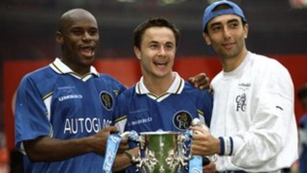 Frank Sinclair, Dennis Wise and Roberto Di Matteo