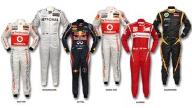 Six world champion's race suits