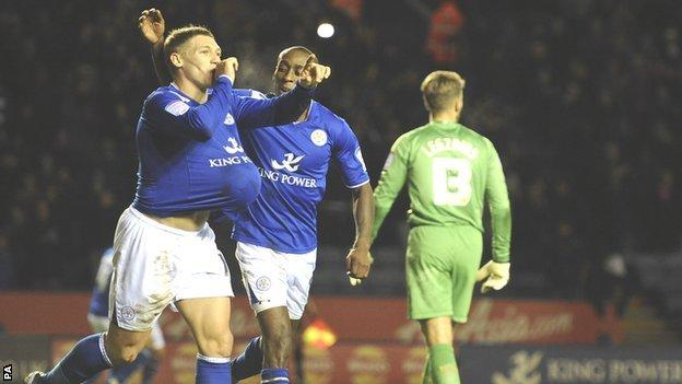 Leicester City's Martyn Waghorn (left) celebrates his goal against Derby County