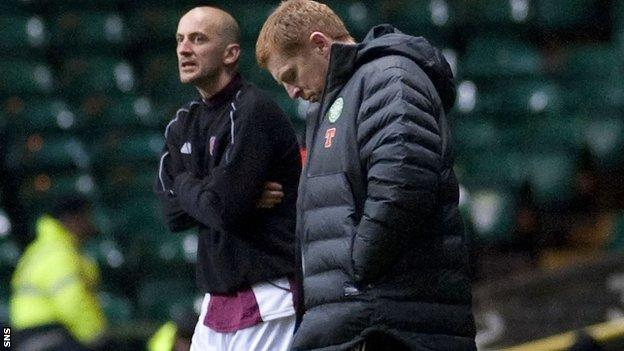 Neil Lennon (right) saw his much-changed side held to a draw by Arbroath