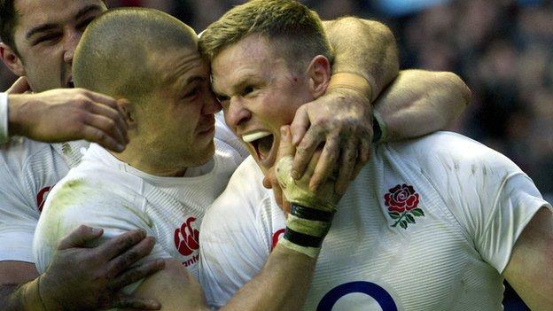 Mike Brown and Chris Ashton celebrate the latter's try