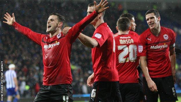 Cardiff City players celebrate goal against Sheffield Wednesday