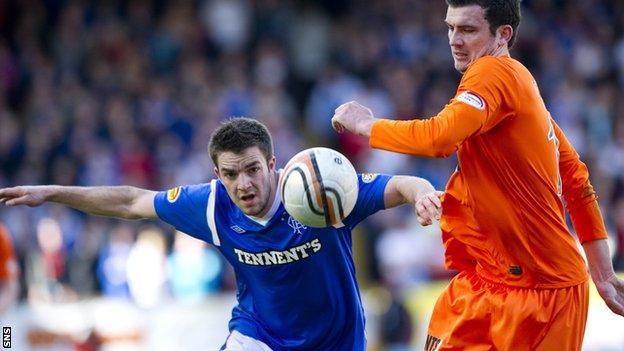 Rangers striker Andrew Little and Dundee United defender Gavin Gunning