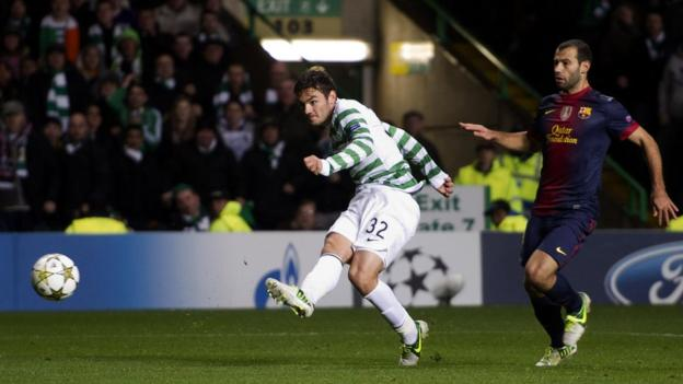 Celtic's Tony Watt scores his sides second against Barcelona