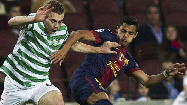James Forrest in Champions League action for Celtic