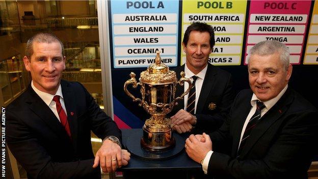 England coach Stuart Lancaster, Australia coach Robbie Deans and Wales coach Warren Gatland