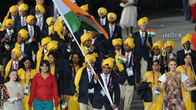 India's team at the London 2012 opening ceremony