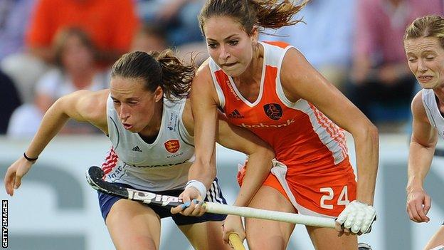 Susannah Townsend (left) playing against the Netherlands