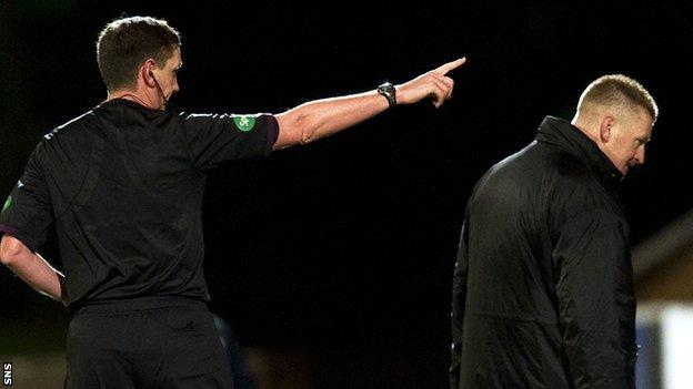 Lomas is sent to the stand by referee Craig Thomson