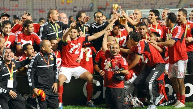 Al Ahly celebrate winning the 2012 African Champions League