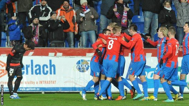Plzen celebrate their winner against Atletico Madrid