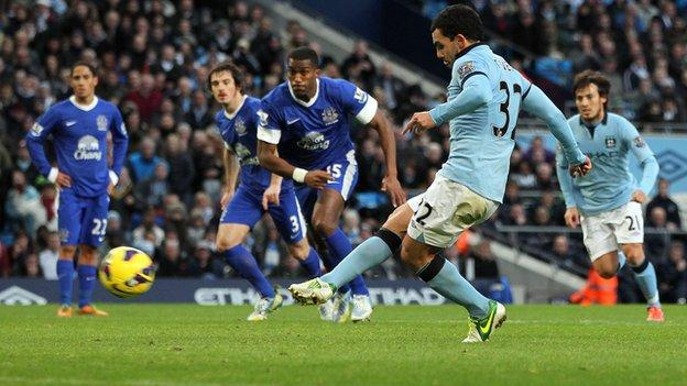 Manchester City striker Carlos Tevez takes a penalty against Everton
