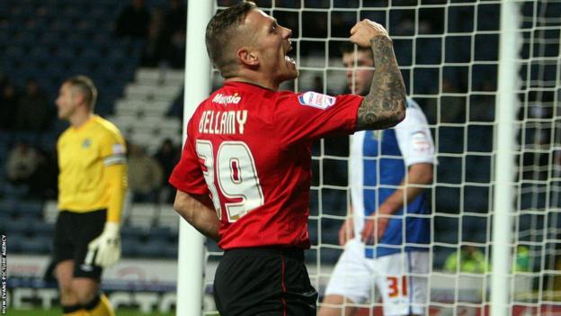 Craig Bellamy celebrates his goal against Blackburn Rovers