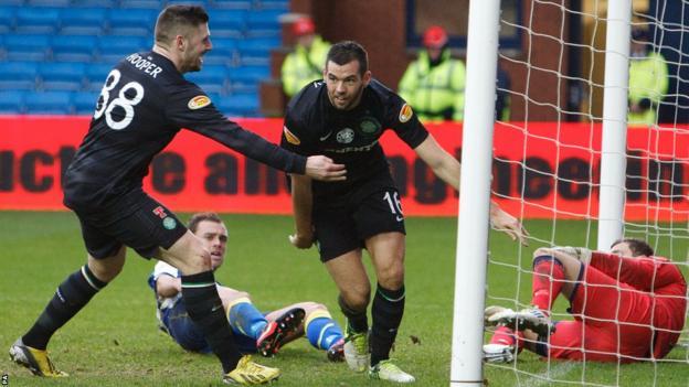 Joe Ledley scores as Celtic win 3-1 at Kilmarnock in the Scottish Premier League