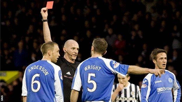Referee Bobby Madden sends off Steven Anderson